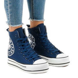 Dark blue sneakers on wedge W08 navy