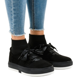 Black sneakers high ribbon CH-95