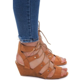 Brown Lace-up Wedge Sandals LL-115 Camel