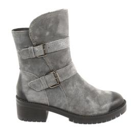 Gray Suede leather boots Daszyński 161 grey