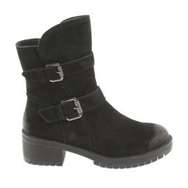 Black Suede leather boots Daszyński 161