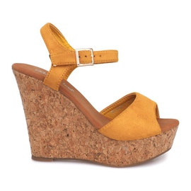 Wedge Sandals Cork 5H5654 Yellow