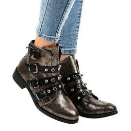 Khaki women's boots flat buckles HQ2366