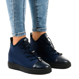 Dark blue insulated high sneakers on wedges XY-35 navy
