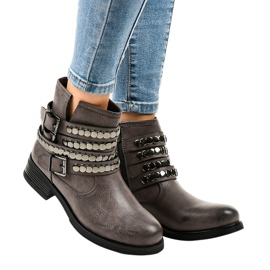Gray insulated flat women's boots F1608 grey