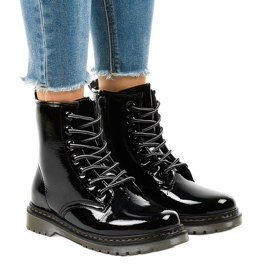 Black patent leather boots TL142-1
