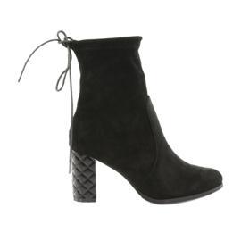 Suede boots with a decorative heel Daszyński 154 black