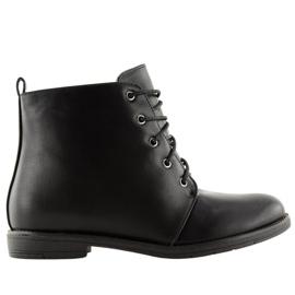 Black lace-up boots 3085 Black