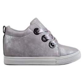 New Tlck Shoes tied with a ribbon grey