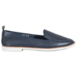 Mazaro Dark Blue Leather Loafers