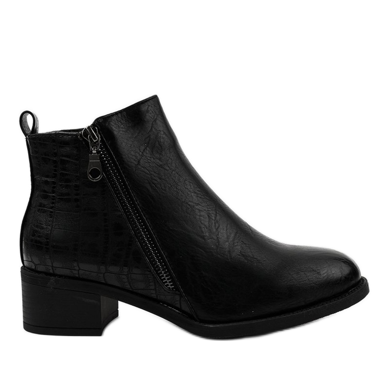 Black ankle boots with a TX-3201 zipper