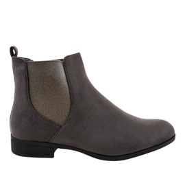 Gray suede flat boots with elastic 100-917BO grey