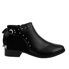 Black flat women's boots with a ribbon Y8162