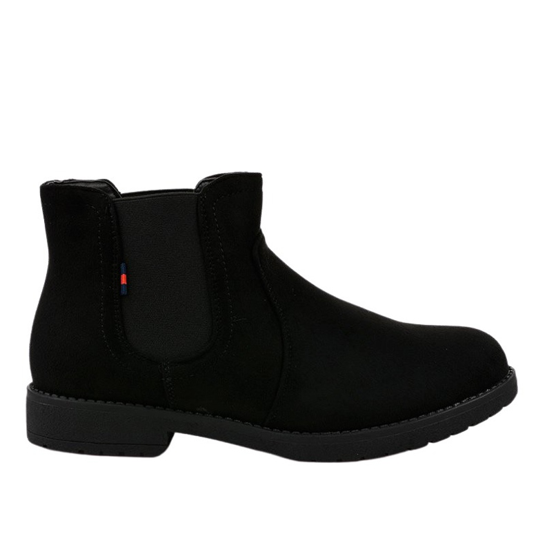 Black flat women's boots with an elastic Y206