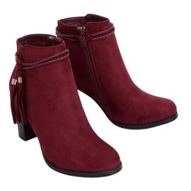 High-heeled burgundy boots VQ-31 Winered