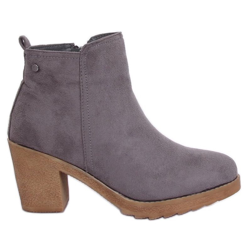 Gray Wide-heeled gray boots YL96044 Gray grey