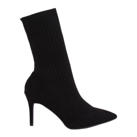 Boots with a sock upper black T5033 Black