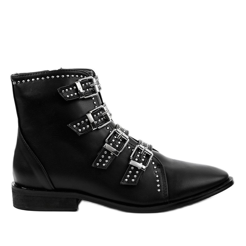 Women's black flat boots with buckles 100-915