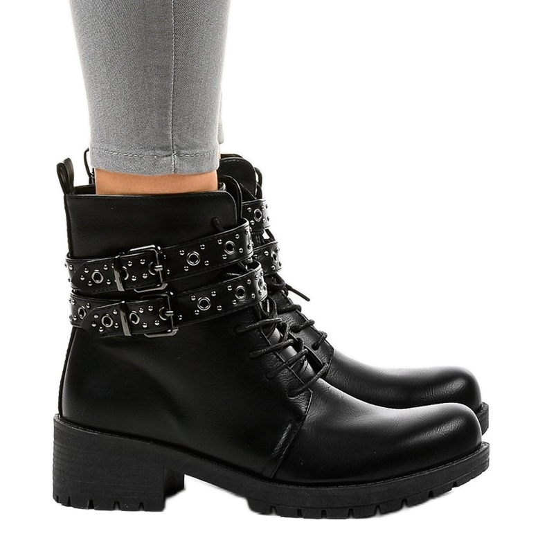 Black boots with buckles 9996-7