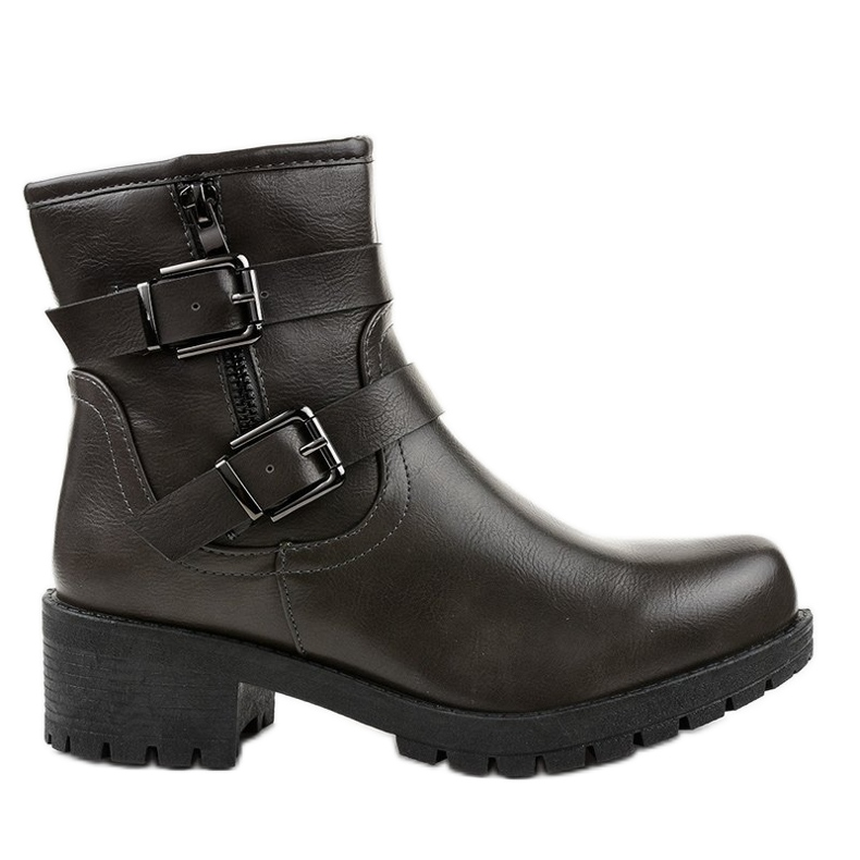 Gray boots with buckles 9996-5 grey