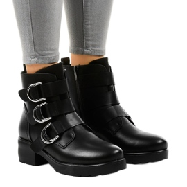 Women's black flat boots with buckles BZ66010