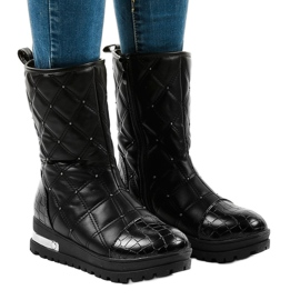 Ladies' black flat ankle boots with studs B9016-1