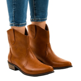 Camel ankle boots for women 928-1 flat cowboy boots brown