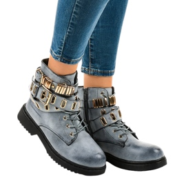 Blue insulated flat boots B2878-KB