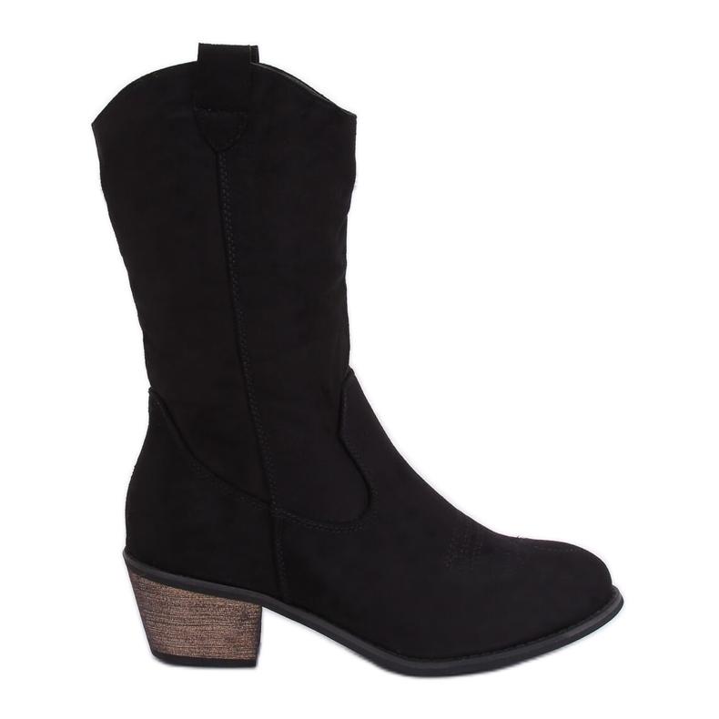 Black CM-9M1-1 Black cowboy boots