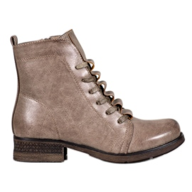 Forever Folie Beige lace-up boots