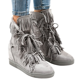Gray wedge sneakers with fringes H6600-36