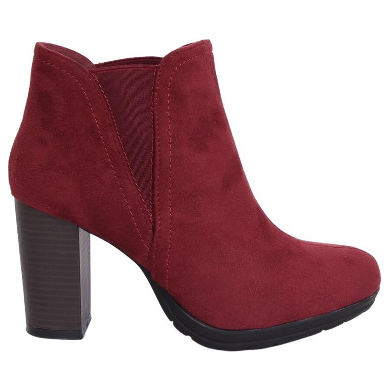 High-heeled boots, burgundy H9261 Burdeos red