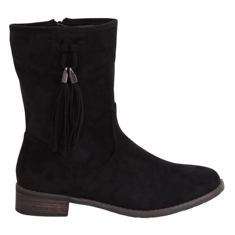 Black women's flat black boots 99-133 Black