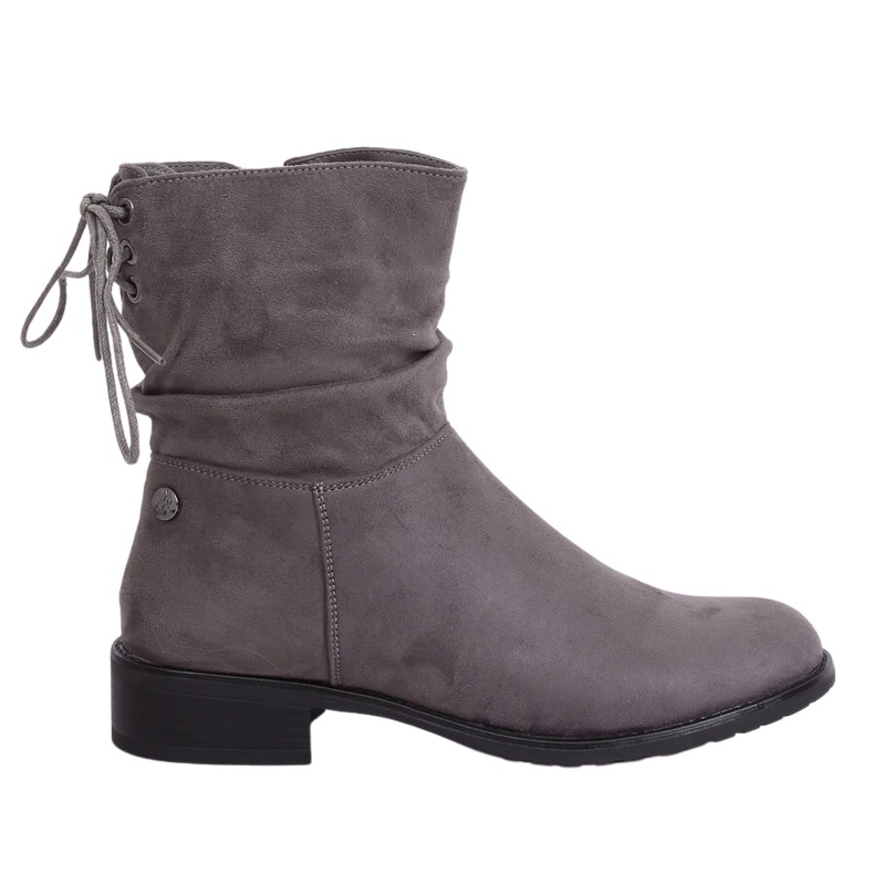 Gray women's flat gray boots B-09 Gray grey