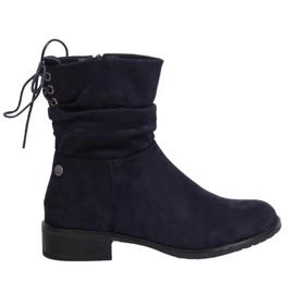 Navy blue women's flat boots B-09 Blue