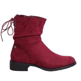 Women's flat burgundy boots B-09 Wine red