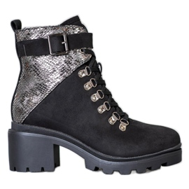 Seastar Snake Print lace-up ankle boots black