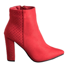 Seastar Suede Boots With Cubic Zirconia red