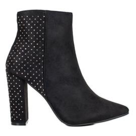 Seastar Suede Boots With Cubic Zirconia black