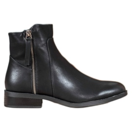 SDS Black Booties With A Zipper