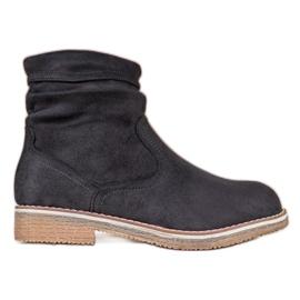 SHELOVET Suede Flat Boots black