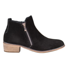 Goodin Leather Booties With A Zipper black