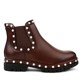 Burgundy Chelsea boots with pearls C-7211 red