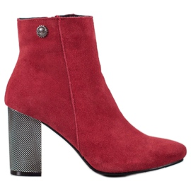 Goodin Leather Ankle Boots red