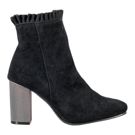 Goodin Leather Booties With A Frill black