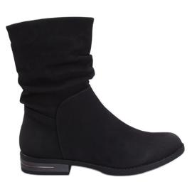 Black women's flat black boots 5139 Black