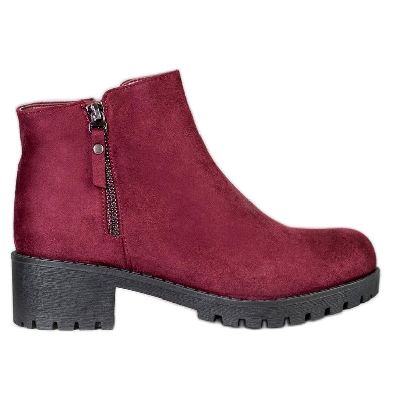 Diamantique Burgundy boots with a zipper black
