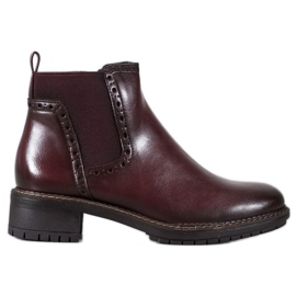 Filippo Burgundy Ankle Boots With Eco Leather red