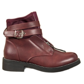 SHELOVET Burgundy Zipper Boots red