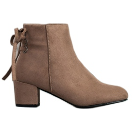 Forever Folie Suede Booties With A Bow brown